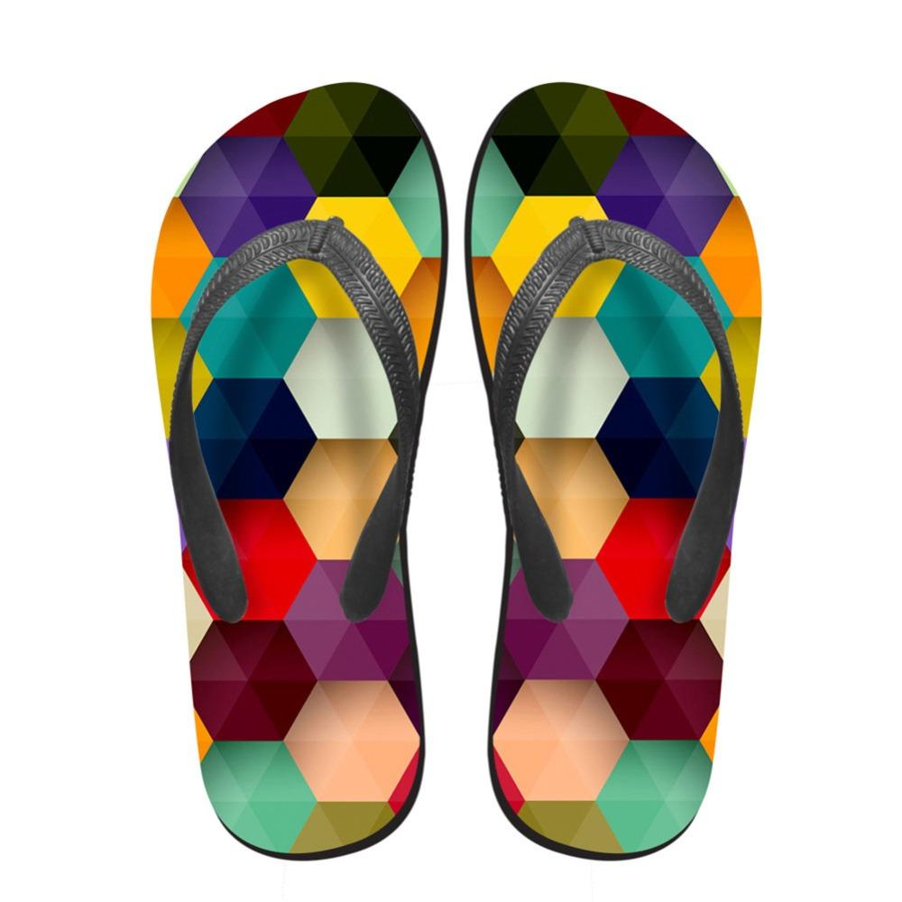 Noisydesigns niñas chanclas 3D polígono impreso verano fresco al aire libre mocasines sandalias femeninas zapatillas de punta zapatos de playa antideslizante
