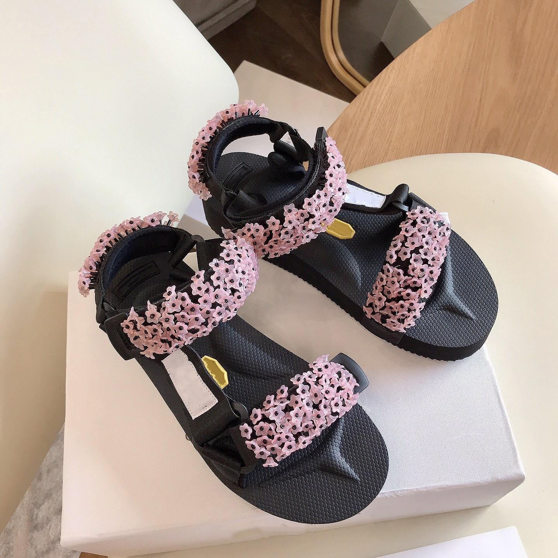progettista dei sandali delle donne di moda pedana piatta diapositive h estate 2020 scarpe da spiaggia velcro gladiatore punta aperta