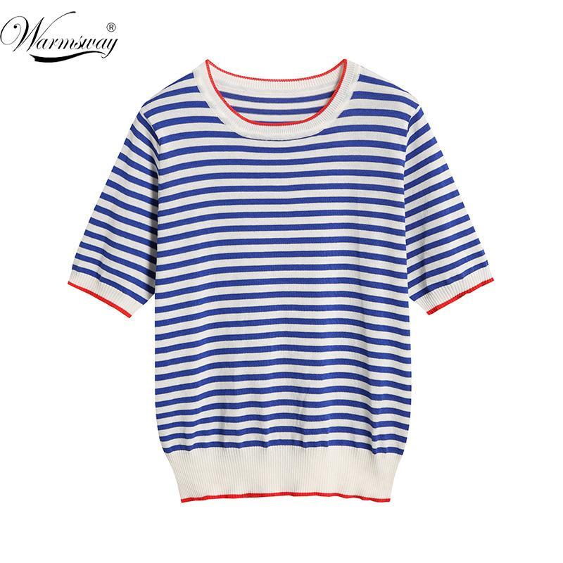 Warmsway İnce Örme T Shirt Kadın Giyim 2020 Yaz Kadın Kısa Kollu Tişörtler Casual T-Shirt Kadın Tişörtü B-019 T200616 Çizgili Tops