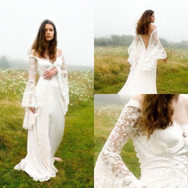 hippie boêmio dos ombros Vestido de Noiva 2019 com sino mangas Lace Up Corset medieval vestidos de noiva país casamento gótico Celtic