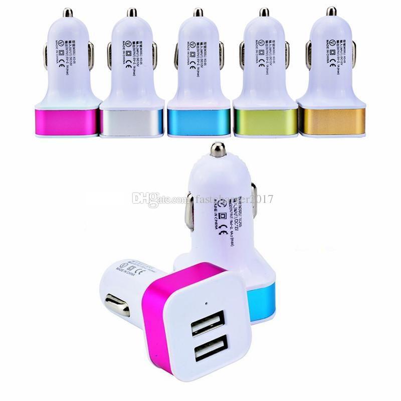 Mini portatile portatile Dual USB 2 port 2.1 + 1A Caricabatteria per auto Adattatori per iPhone 11 12 13 Pro Max Samsung Smart Phone GPS MP3