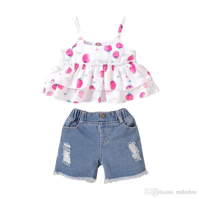 Mikrdoo Kids Menina Bebé Verão Moda Bonito Morango Impressão Strap Top + Rasgado Furo Denim Calças 2pcs Outfit