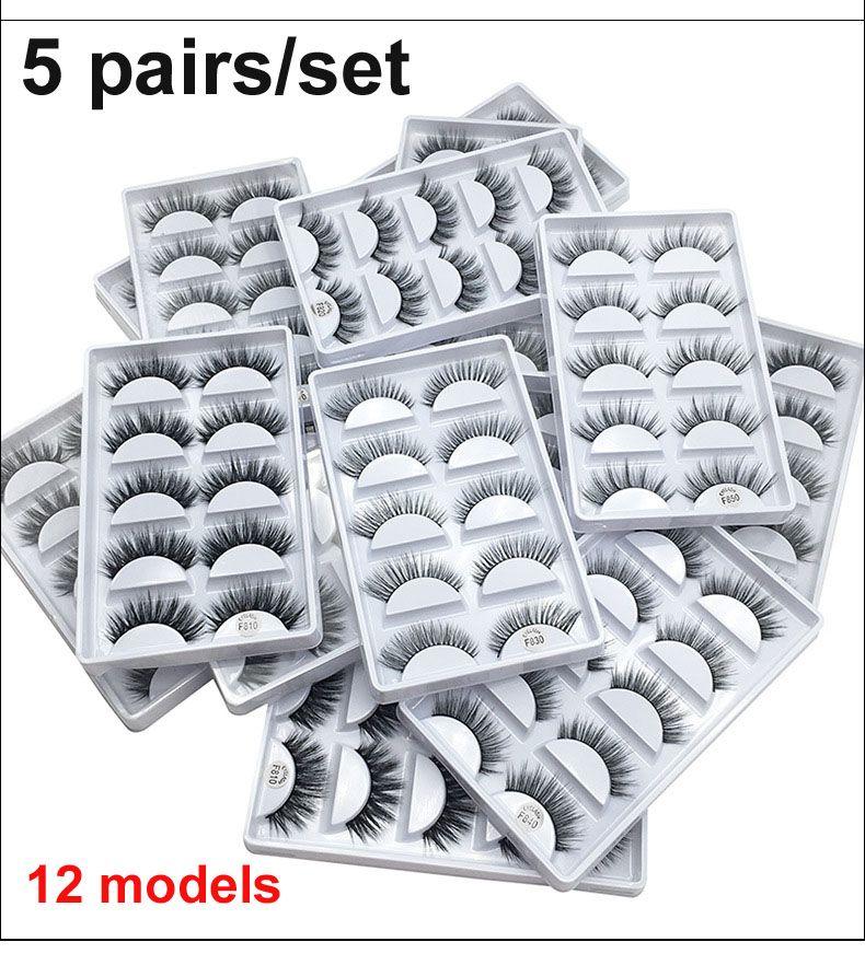 3D رموش سميكة الرموش الصناعية 5 أزواج من الرموش الصناعية ماكياج العين المنك كاذبة جلدة لينة الطبيعية 12 نموذجا