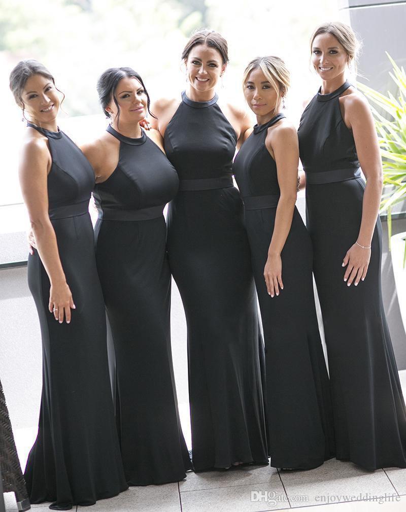 Дешевые 2020 Sexy Черный Длинные Русалка невесты платья Холтер Jewel шеи арабский Дубай официально платья свадебные платья для гостей Пром платья