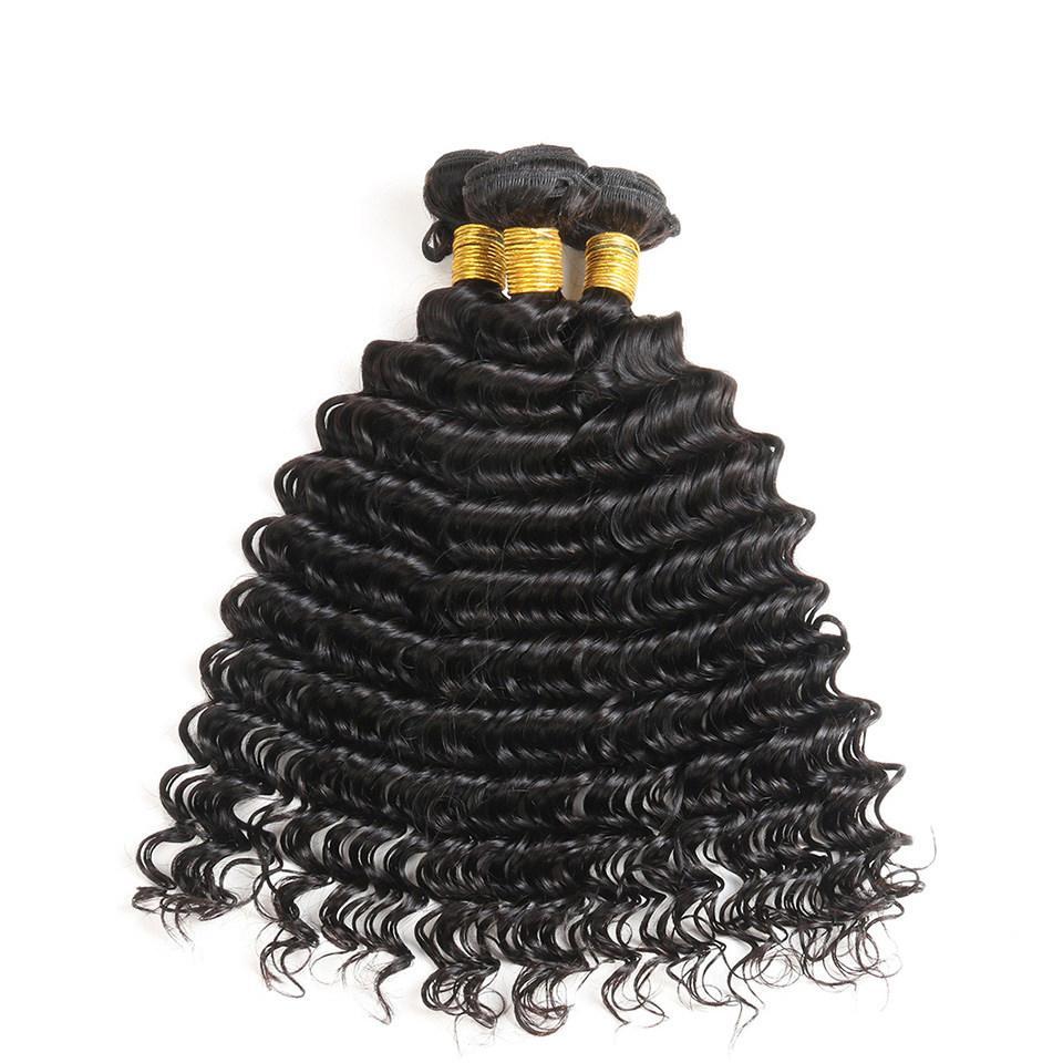 بيرو موجة عميقة الشعر حزم 3 قطع الكثير موجة عميقة مجعد الشعر الإنسان لون طبيعي الضفيرة ديب شعر الإنسان