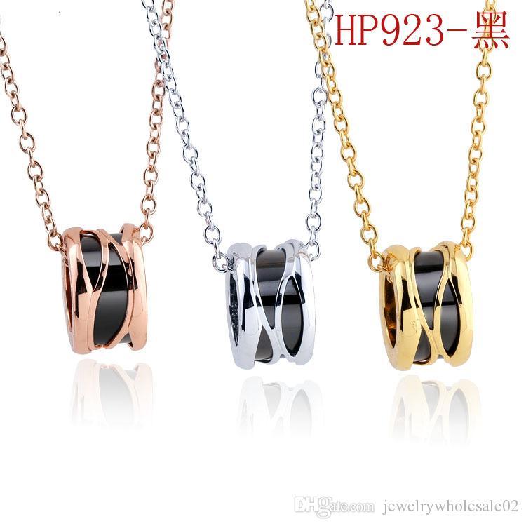 gioielli in acciaio al titanio europei e americani in ceramica collana di disegno delle donne all'ingrosso di gioielli dal design di lusso in bianco e nero collana