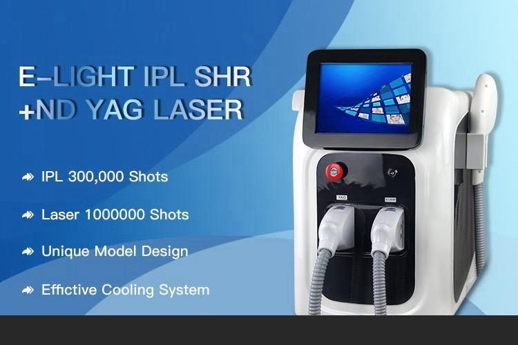 Professional 2 в 1 Оптический SHR IPL быстрый Emovel Machine ND YAG Лазерная татуировка Удаление омоложения кожи