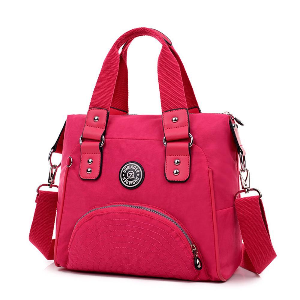 Mujeres de los bolsos del bolso de hombro de nylon impermeable de viaje recargables asa del bolso del color del caramelo de viajes de fin de semana de asas