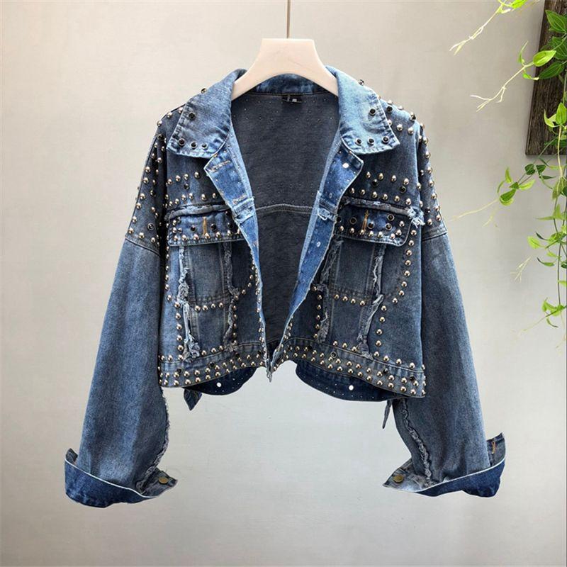 패션 짧은 데님 자켓 여성 가을 새로운 하라주쿠 리벳 레드 진 재킷 기본 여성 긴 소매 코트 느슨한 숙녀 외투