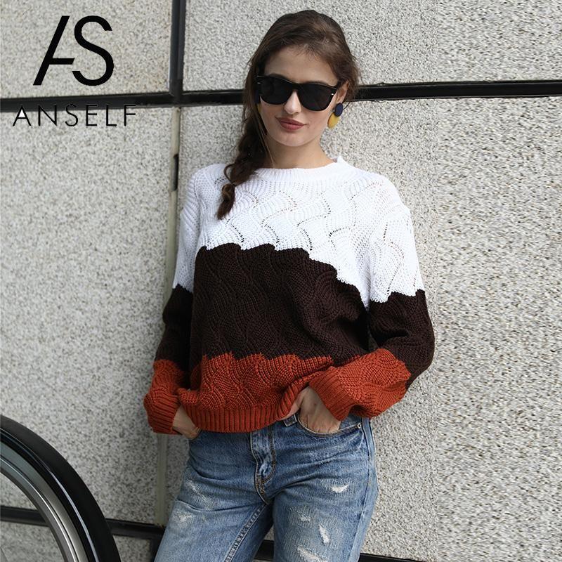 Ребристый свитер женщин трикотажные топы цвет блока полосатый упал плечо выдалбливают с длинным рукавом Pulover женский повседневная уличная одежда