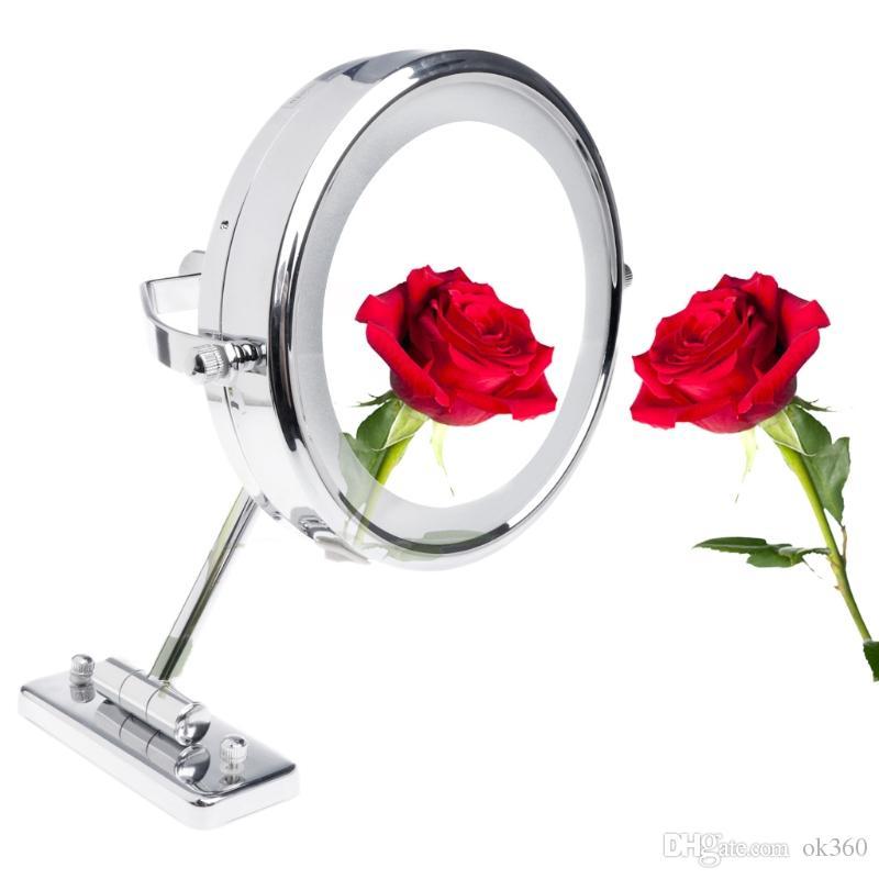 LED réglable Lumière Double Face support mural Miroir grossissant 5X 7X Salle de maquillage en laiton Miroirs 2-pliant face Miroir cosmétique pour Bath