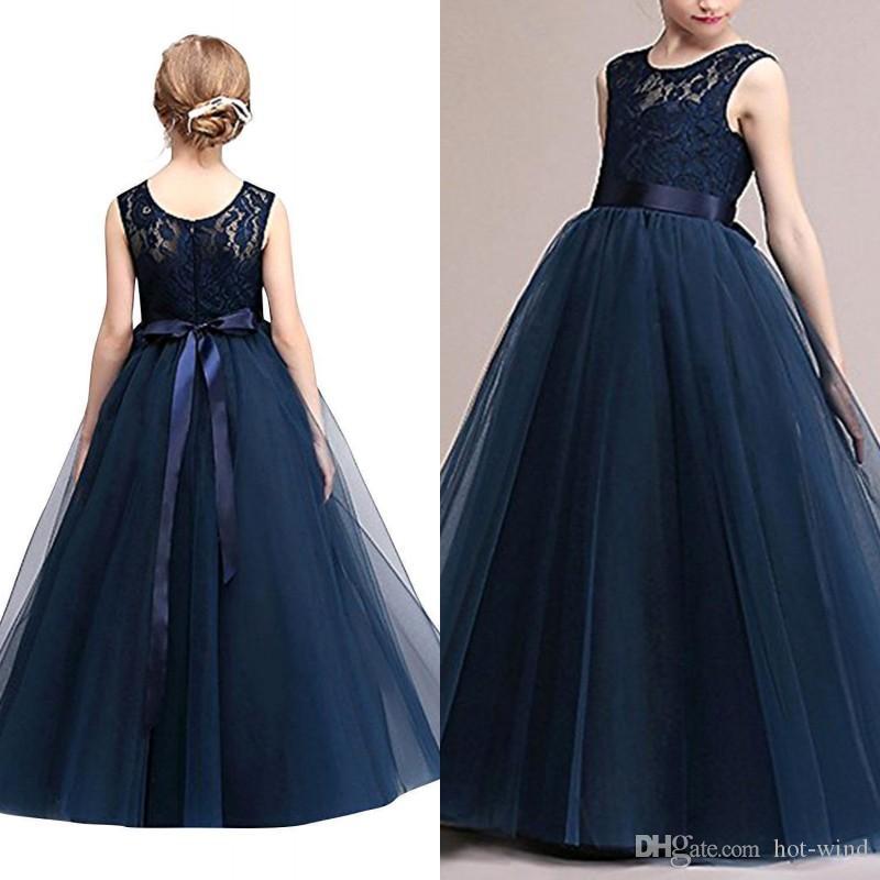 Donanma Mavi Ucuz Çiçek Kız Elbise Stokta Prenses Bir Hattı Kolsuz Çocuk Toddler İlk Communion Giydir Sash MC0889