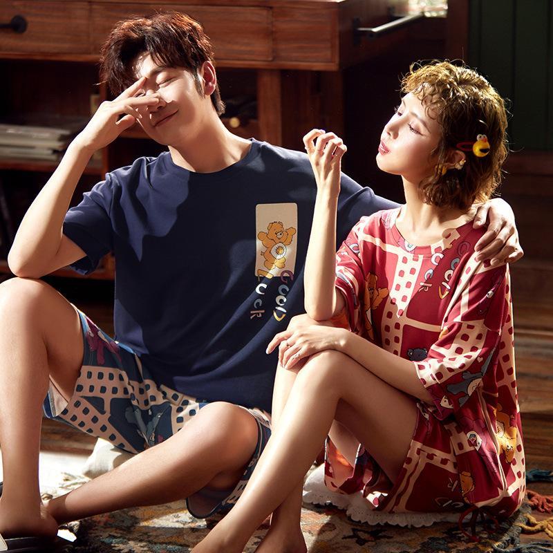 Summer couple Pyjama Ensemble de nuit Coton Cartoon Ours Pyjama Loose Women Shorts hommes Pigiama partie belle Homewear XXXL Gril