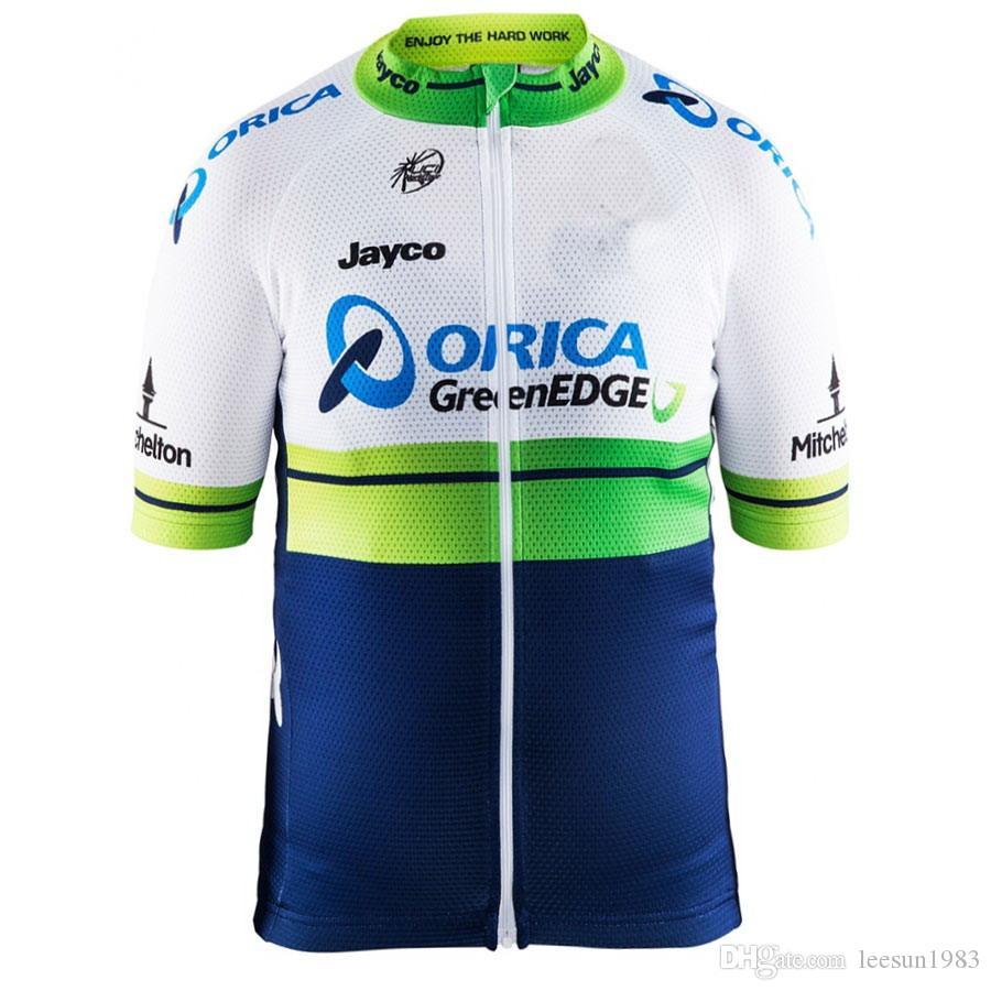 2015 Orca Greenedgeed Proチームグリーンブルーのみ半袖ロパシクリスコシャツサイクリングジャージサイクリングウェアサイズ:XS-4XL