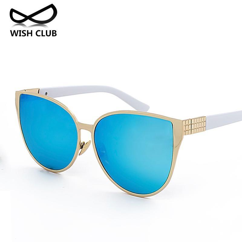 Wholesale- New Color Cat Eye Sunglasses For Women Vintage Sunglasses Mirror Glasses Big Size Sun glasses Female Oversized Oculos de sol