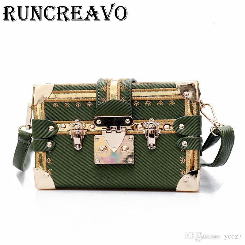 Vintage 2019 frizione borse retro delle donne Messenger Borse Panelled Box Bag Rivet Crossbody Borse a tracolla piccola borsa della bolsa