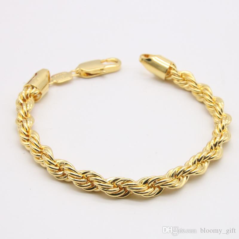 6 mm di spessore corda polso catena oro giallo 18k ha riempito il braccialetto Mens Classic Jewelry Solid lucidato