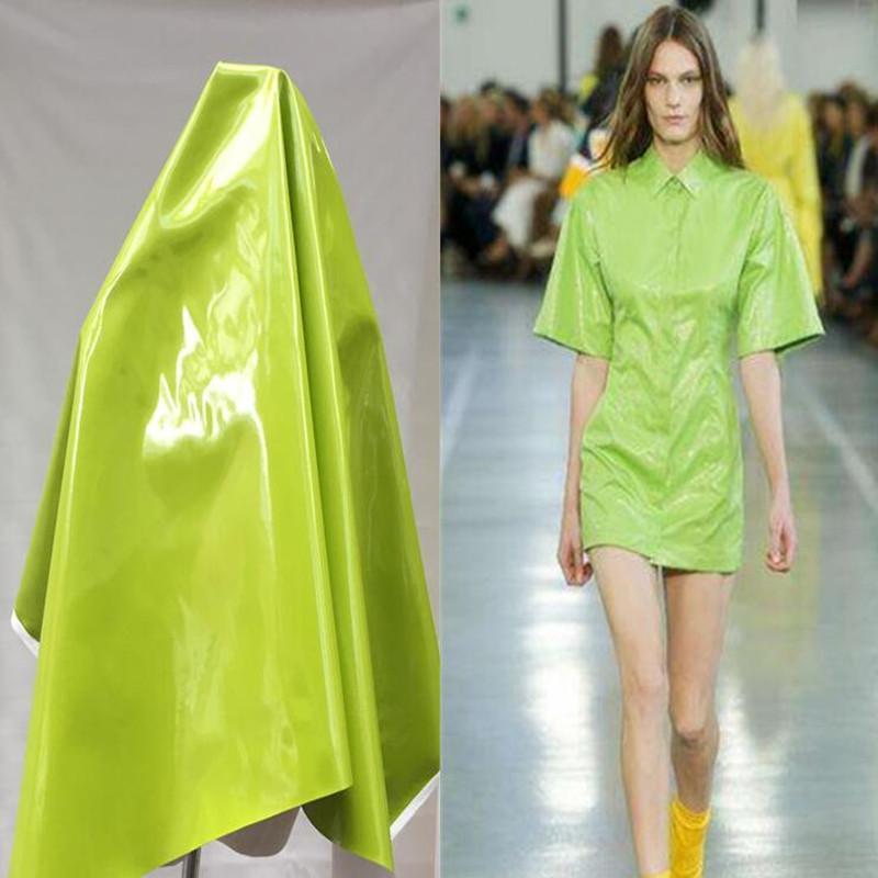 Bright green pu lether fabric dress coat Elastic force magic color laser TPU clothing Waterproof PVC sofa coat diy textiles fabric,D174