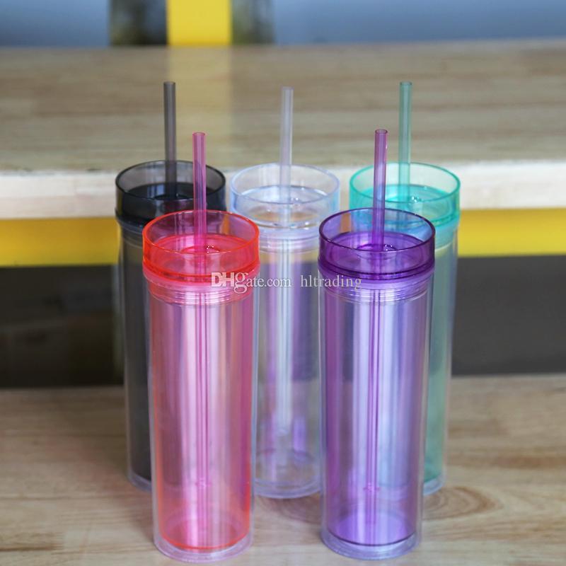 16 Ounce Skinny Acrylic Tumbler /& Straw • BPA FREE • 13 Colors • FREE SHIPPING