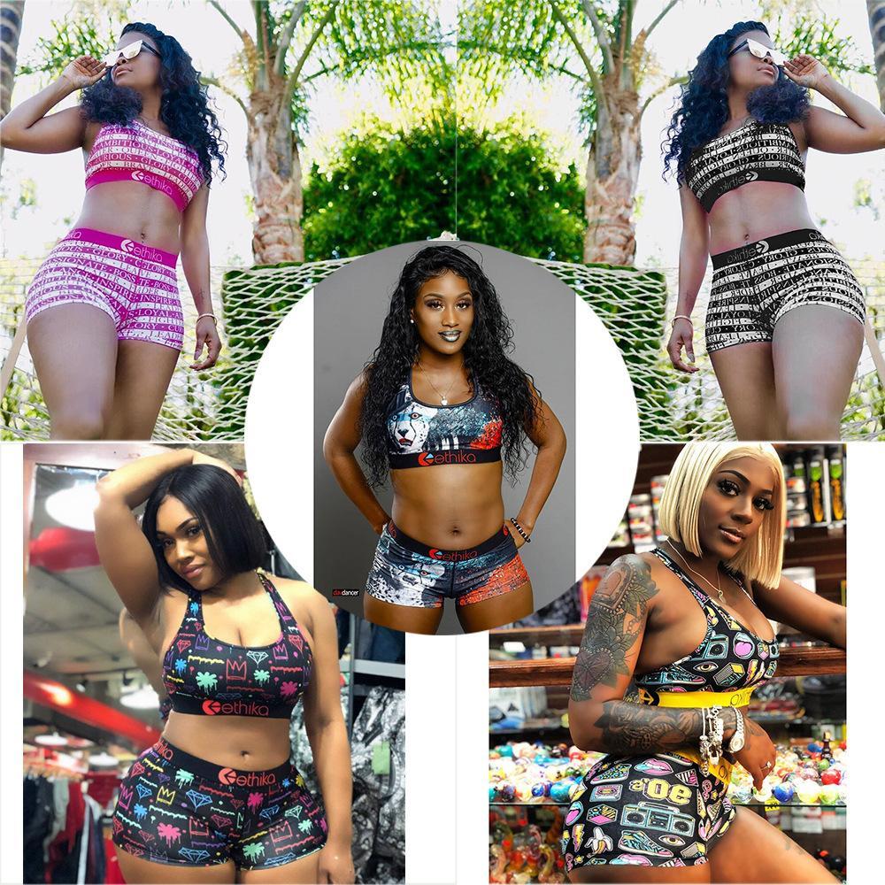النساء تصميم ملابس Ethika الرياضة البرازيلي + شورت جذوع 2 قطعة العلامة التجارية رياضية سريعة جاف بيكيني مجموعة الملابس T593