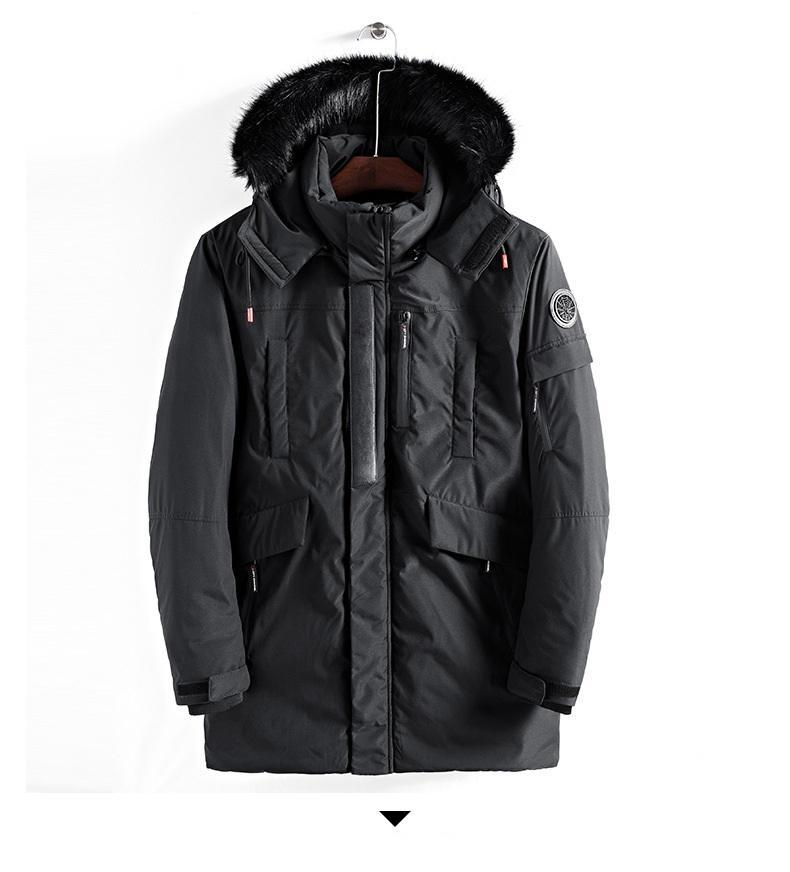 Mode-Mens Designer Coupe-vent D'hiver Casual Hip Hop Manteau Parkas Homme Veste À Capuche Longue Longueur Ouaté Veste Survêtement