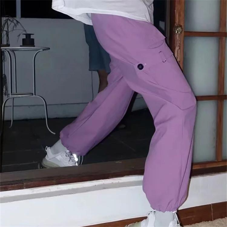 Solide Violet Lila Side Strap Fracht-Art-elastische hohe Taillen-lose beiläufige Harem Sommer Hose Frauen Anzug Jogger Hosen 2020