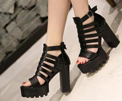 Acheter Sandales À Talon Chunky Chaussures Punk Sandales Talons Plateforme Sandales Mode Femme Chaussures D'été Sandalias Romanas Femmes De $31.39 Du