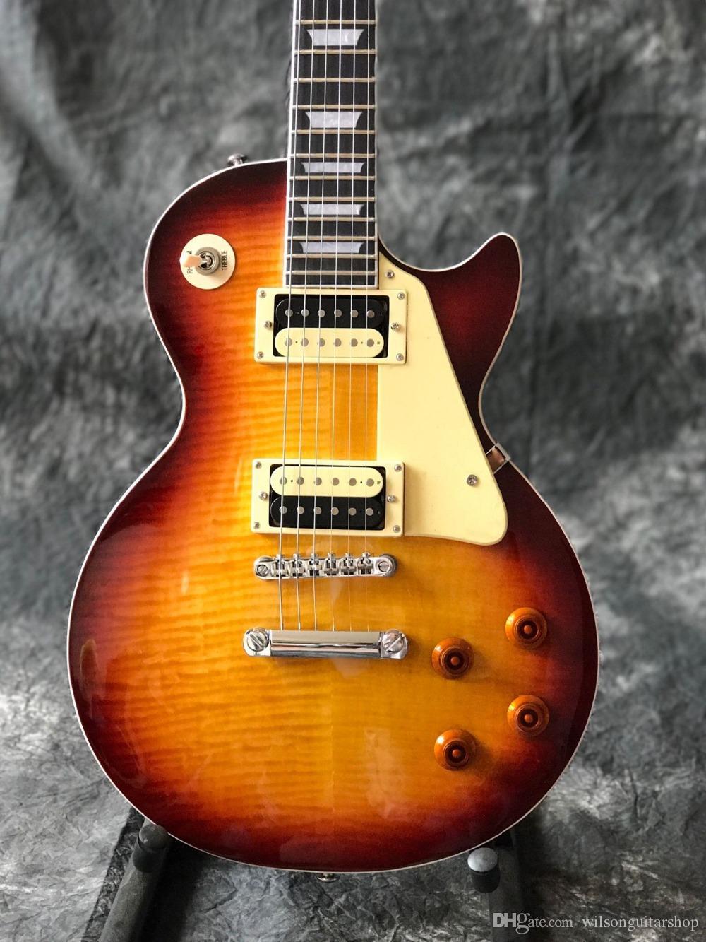 Top qualidade Tiger Chama LP costume padrão guitarra elétrica Padrão 59 Sunburst gitaar, guitarra creme escudo.