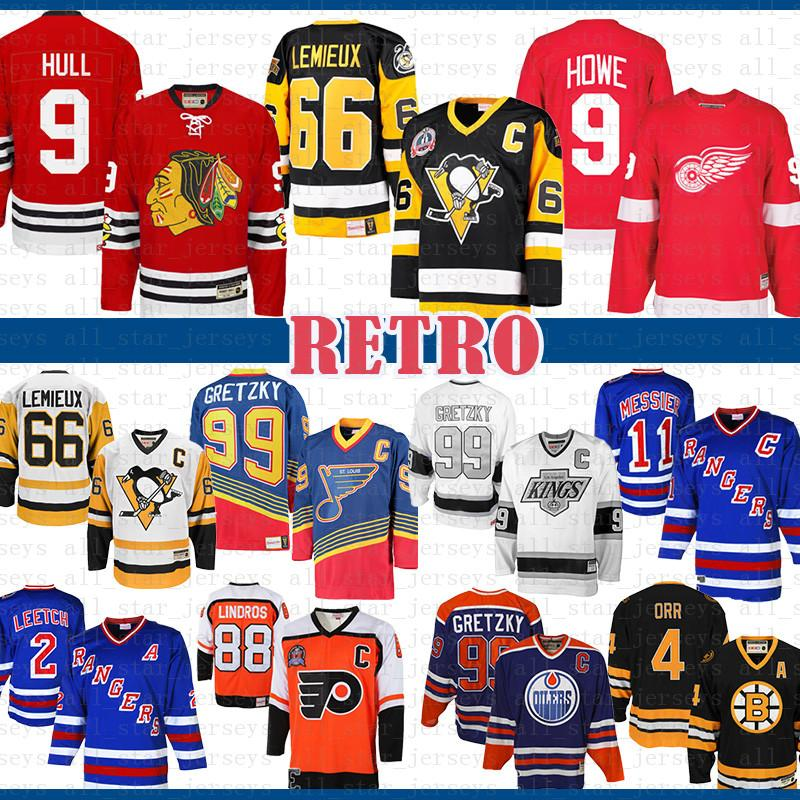Mens billig CCM 9 Bobby Hull Chicago Blackhawks Gordie Howe Detroit Red Wings Trikots Mario Lemieux 66 Pittsburgh Penguins Hockey Jersey
