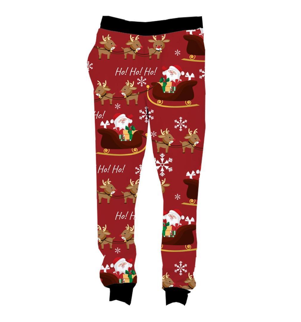 Pantalones de chándal TAMAÑO REAL entre Estados Unidos Navidad Ho Ho 3D sublimación de impresión cadena basculador más tamaño 4XL 5XL
