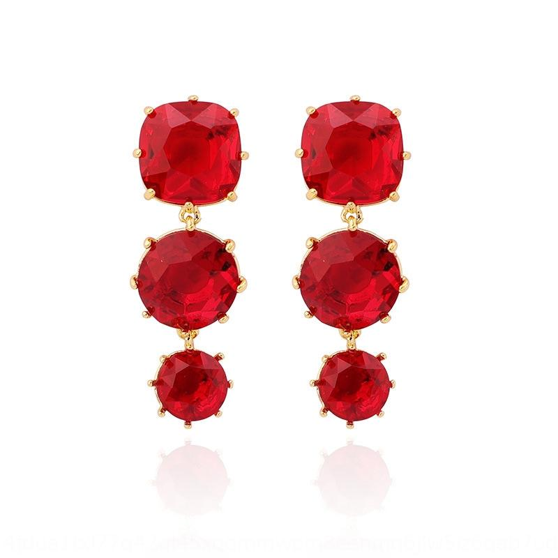 Simple Star Diamond Series Ohr Granat elegant Mehrfarbenrot Löcher nicht Ohrclips für Frauen Granat Ohrringe und Ohrringe 4HvVK
