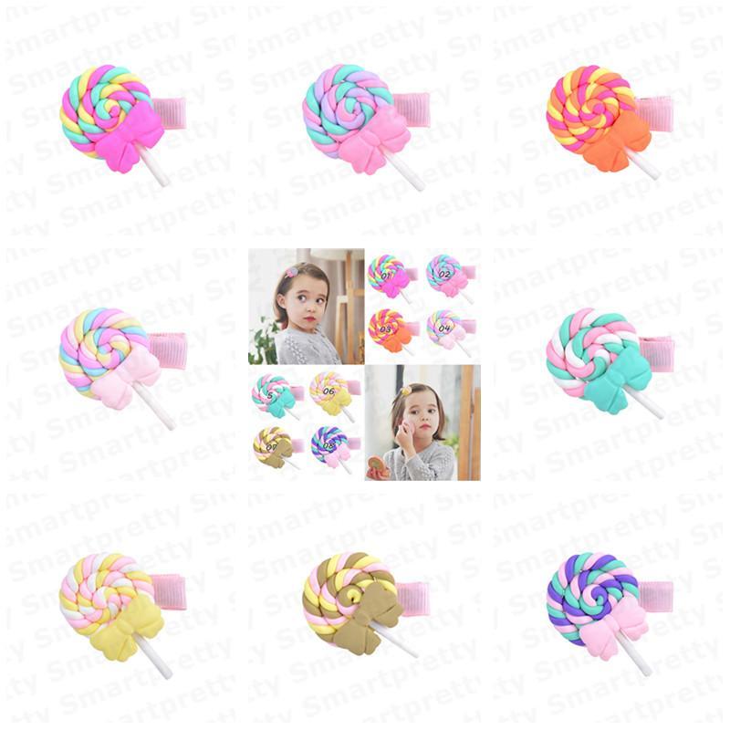 1.3inch delle neonate Barrettes del polimero Arcobaleno Lollipop Pin di Bobby principessa dell'arcobaleno della forcella 2020 Clip di bambini di colore della caramella dei capelli cloud E31201