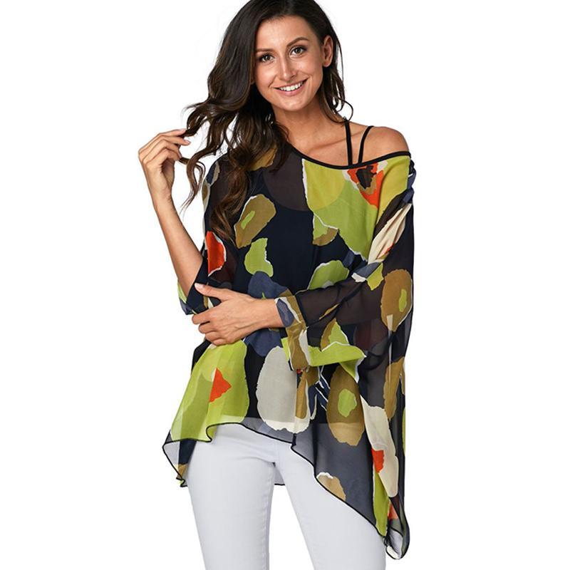 Женщины Блузки Плюс Размер 2019 Новый Стиль Форме Крыла Летучей Мыши Повседневная Летняя Блузка Рубашка Женщина Бохо Шифон Рубашки Топы Сорочка Femme