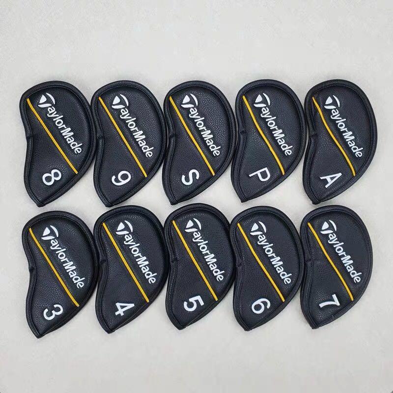 10Pics / çok Golf Demir Başörtüsü PU Deri Yüksek Kaliteli İçin Golf Demir Kafa Koruma Kapak Ücretsiz Kargo