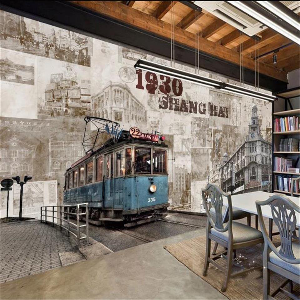 3d resim boyama TV arka plan duvar kağıdı dokunmamış duvar çıkartması Retro özel 3d fotoğraf kağıdı duvar çalışma odası eski Şanghay sokak