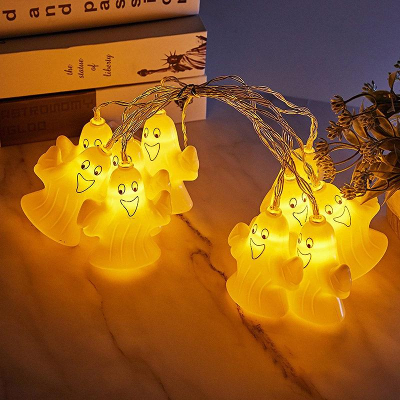 BRELONG 할로윈 호박 등불 백중날 빛 문자열 고스트 주도 배터리 박스 장식 조명 1 개