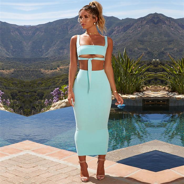 2020 İki Adet Set BODYCON Kıyafetler 2 Adet Setleri Tops ve Etek Yaz Yeni Stil Kadın Ev Giyim
