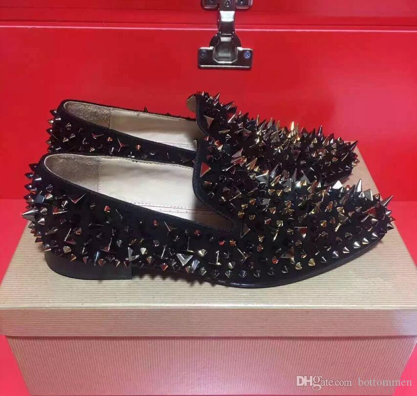 Роскошные Красные Нижние Роллербои Шипы Мокасины Мужчины, Скольжения На Натуральной Коже Повседневная Обувь, Открытый Плоский С Прогулочным Партийным Платьем Обувь
