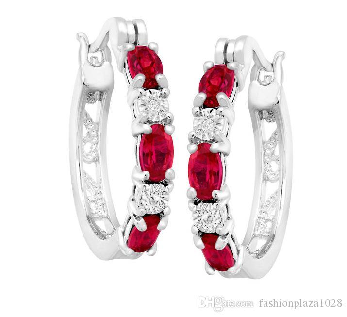 Luckyshine 10pair 925 zilveren bedels rode robijn ronde antieke oorbellen voor vrouwen witte topaas zirkoon mode delicate oorbellen