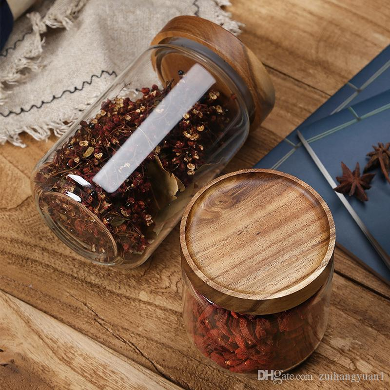 500 ml / 750 ml / 1000 ml conservazione degli alimenti cereali contenitore a tenuta D'aria contenitori con coperchi di bambù vasi di vetro contenitori di Stoccaggio Cucina