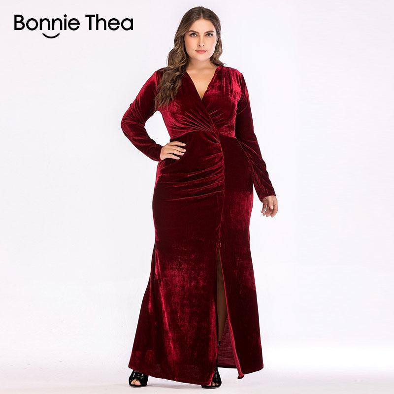 2019 mujeres rojo más el tamaño de terciopelo maxi vestido de otoño elegante de gran tamaño bodycon sexy vestido de fiesta de gran tamaño vestidos largos vestidos