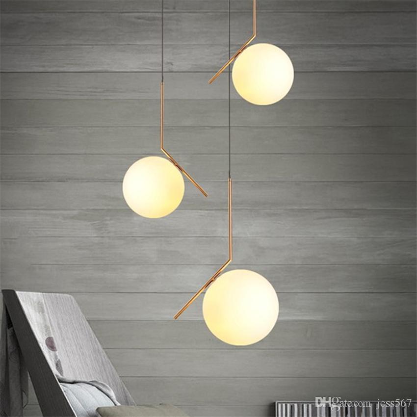 ضوء غرفة الحديثة LED الثريا زجاج الكرة قلادة مصباح مصباح الطعام نوم متجمد عاكس الضوء المقبس مصباح معلق ومينير