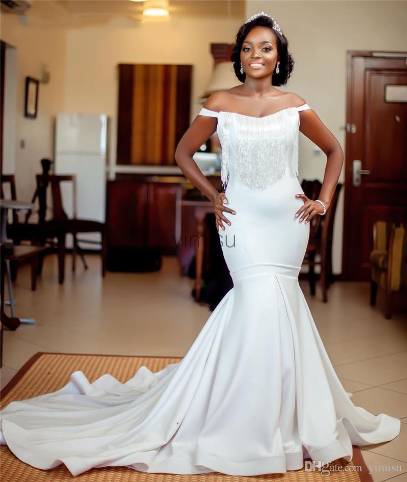 Latest White Mermaid Wedding Dresses 2020 Off Shoulder Sweep Train Tassel African Bridal Gowns vestidos de novia Plus Size Customized