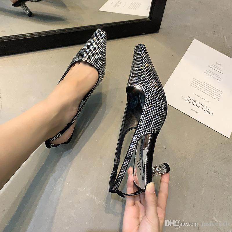Франция женщины сексуальные хрустальные насосы сандалии летние стразы женские бриллиантовые туфли на высоких каблуках платье летние туфли-лодочки