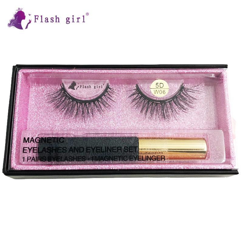 Flash Girl alta calidad 1pair 5D visón pestañas magnéticos caja de lujo magnéticos ojos líquido magnéticos pestañas falsas y las pinzas de 5D-W06