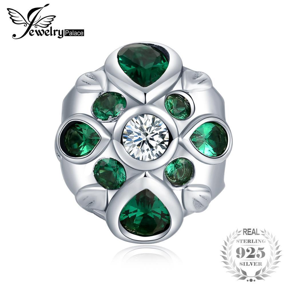 JewelryPalace 925 Sterling Silver Early Flower Bud Blossom Pear Shape Green Cubic Zirconia Bead Charm Fit Bracelet For Women J190523