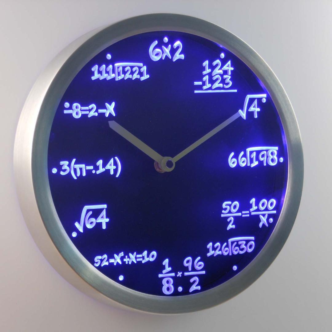 الرياضيات الجبر صيغة الرياضيات المعلم هدية النيون الصمام ساعة الحائط التصميم الحديث ساعة الحائط متوهجة