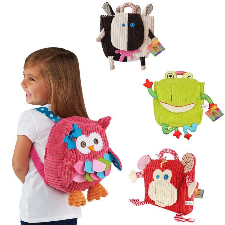 5styles Kindergarten Plush handbag Backpacks Baby School Bags Cartoon Animals Shoulder schoolbags Kids children gift outdoor travel bag FFA2093
