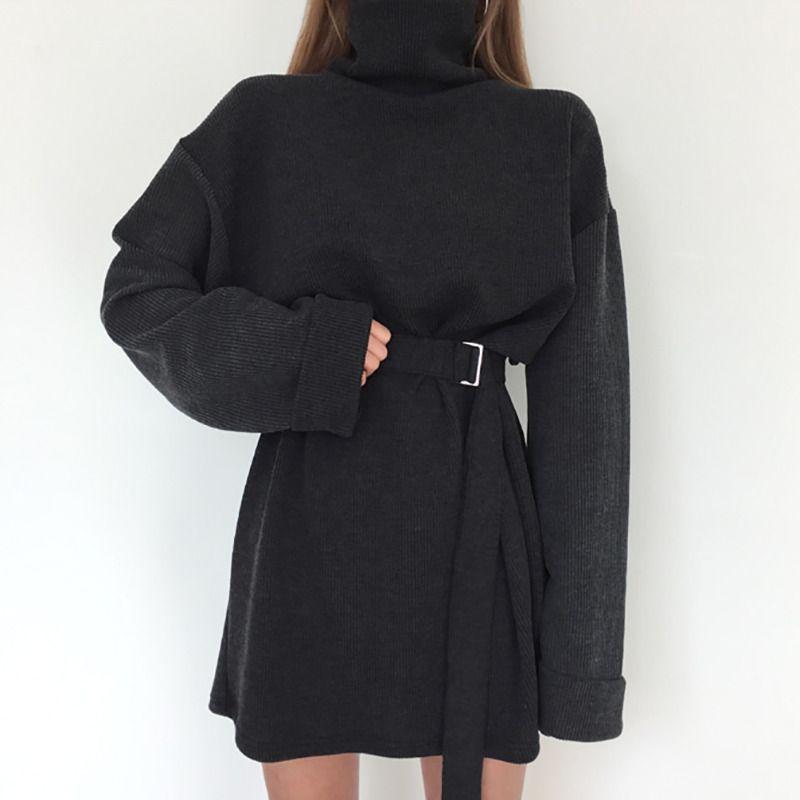 Real Shot 2018 Spring Women's Solid Turtleneck Long Sleeve Dress Female Bandage Plus Size Straight Cotton Dresses Y19050805