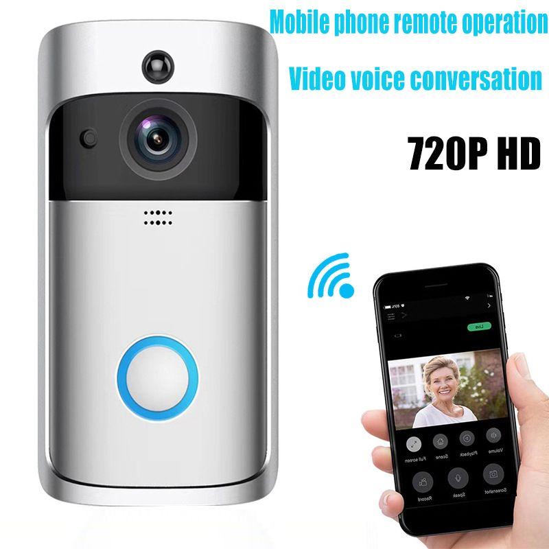2019 macchina fotografica senza fili NUOVO Smart Home V5 Video campanello 720P HD WiFi Anello del campanello di sicurezza domestica Smartphone monitoraggio remoto Allarme porta Senso